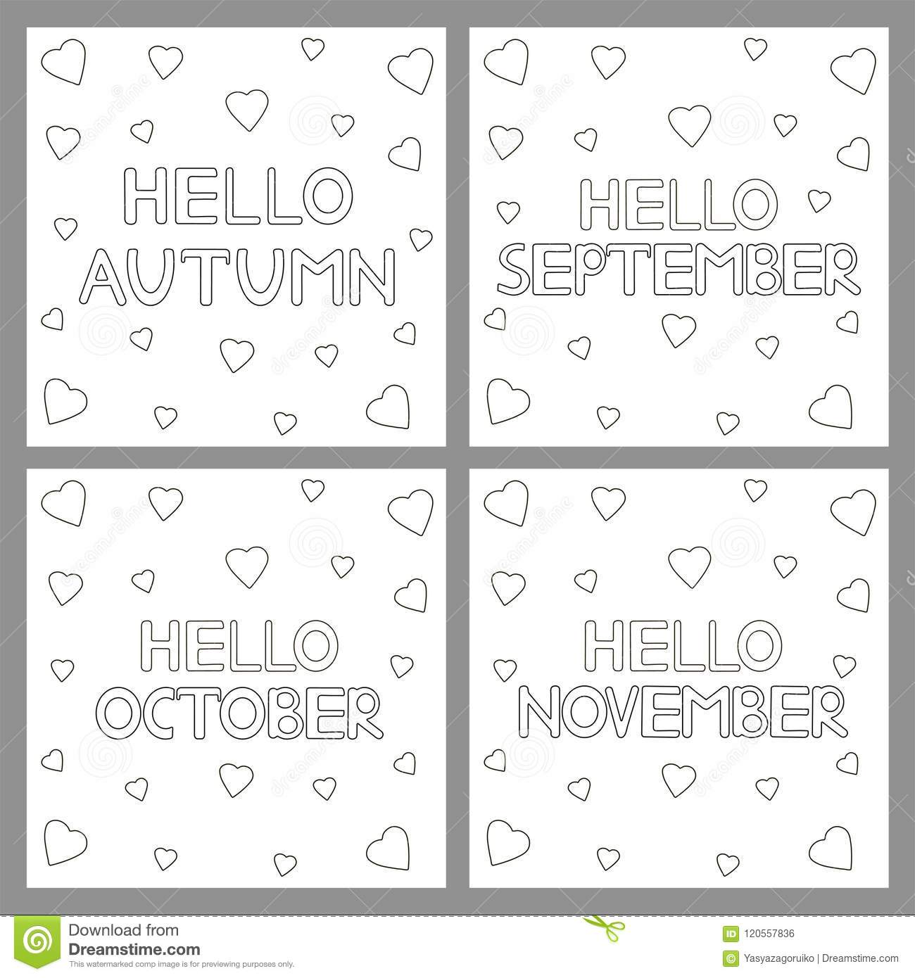 Coloring Pages Set With Phrases Hello Autumn Hello September H Stock Vector Illustration Of Card Heart 120557836
