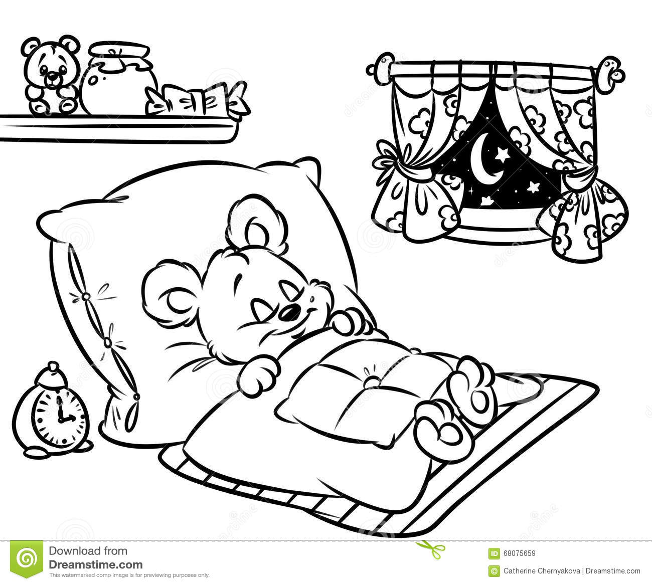 coloring pages sleeping little bear stock illustration