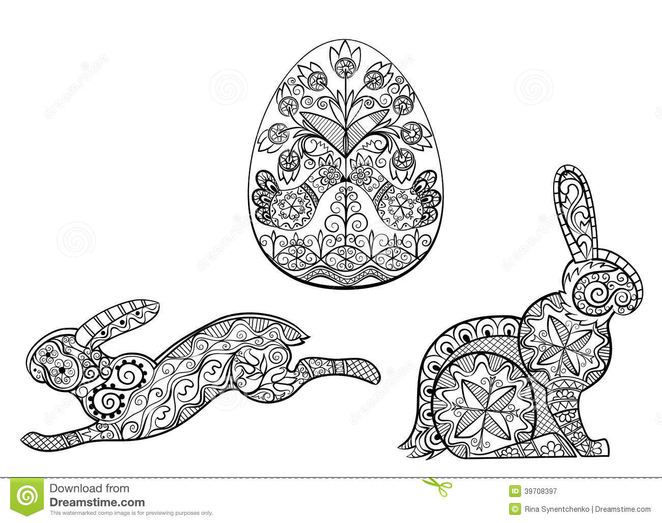 Coloring Pages Symbols Of Easter Egg Hare Rabbit Stock Vector ...