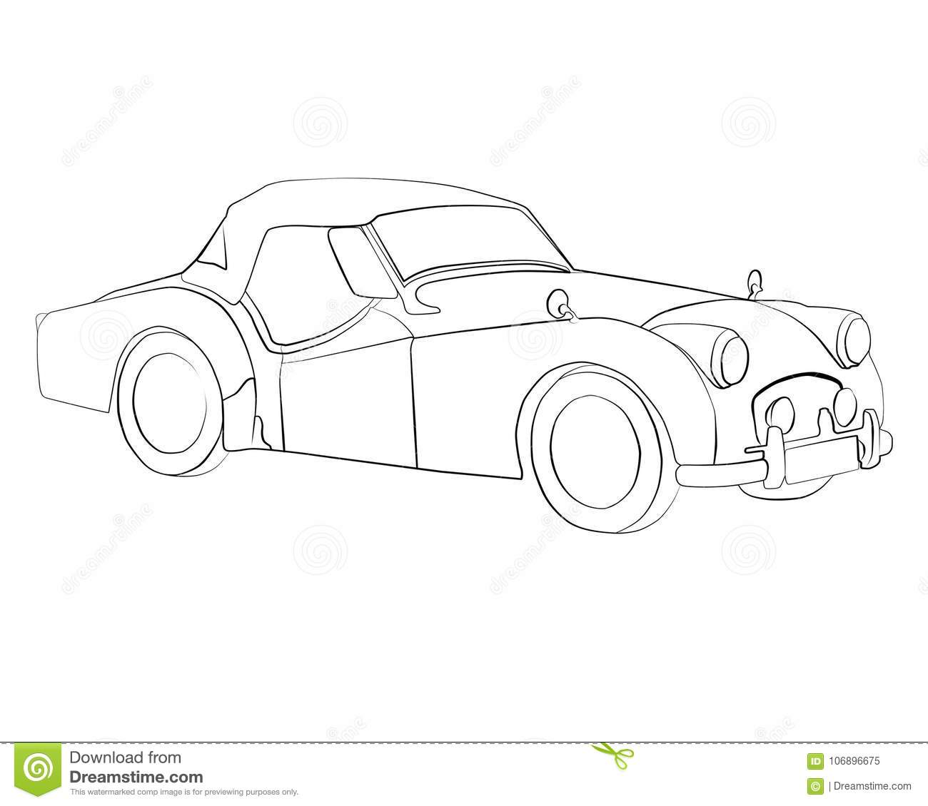 Coloring Pages To Print Car Triumph TR2 Stock Illustration ...