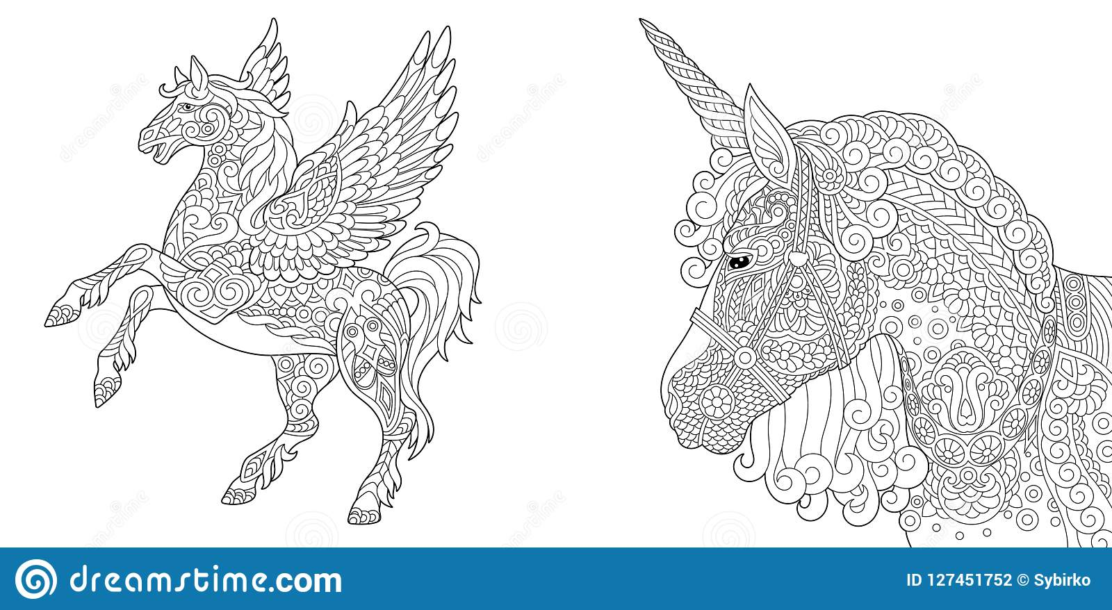 Coloring pages with unicorn and pegasus