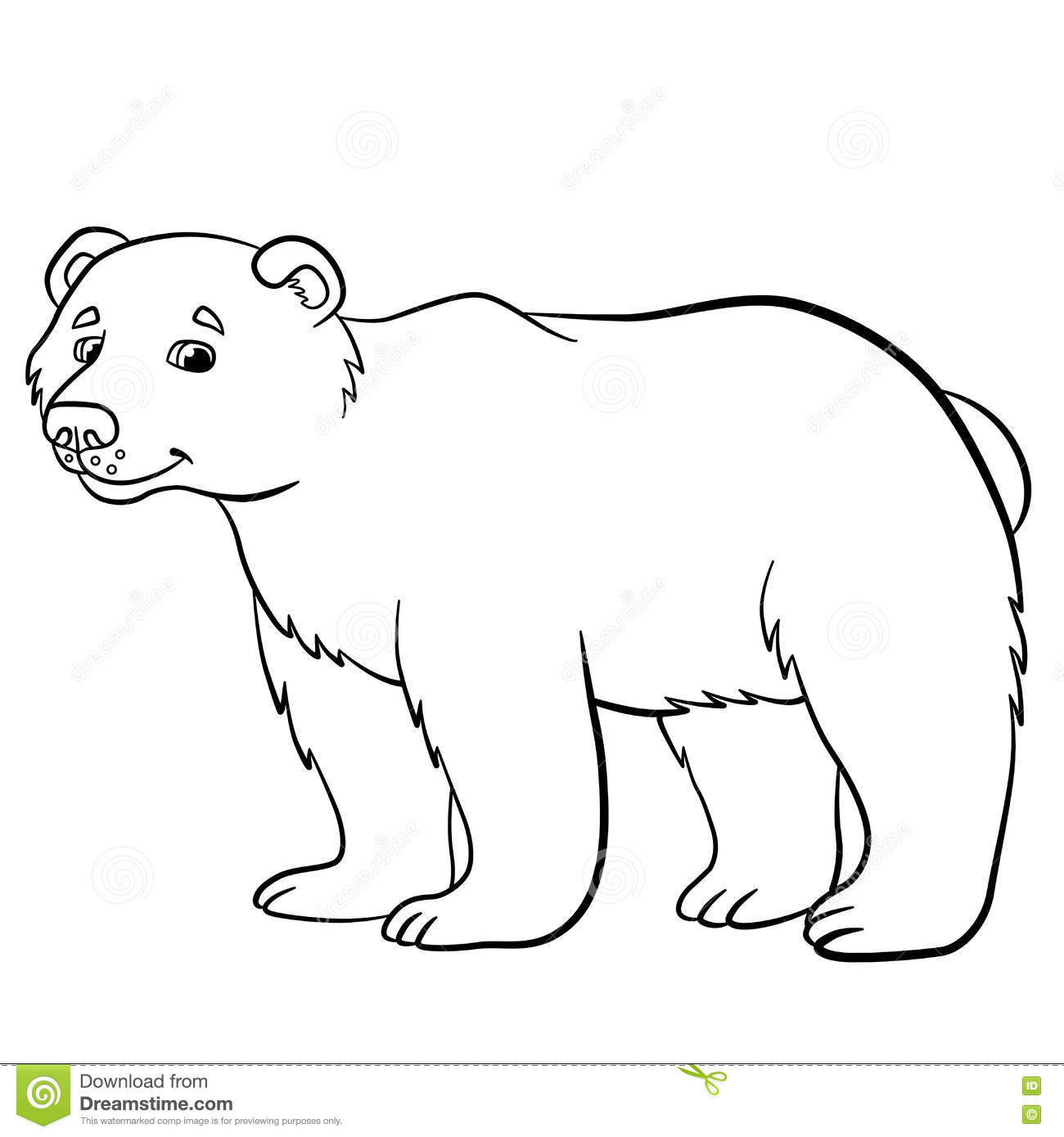 coloring pages wild animals cute bear smiles stock vector