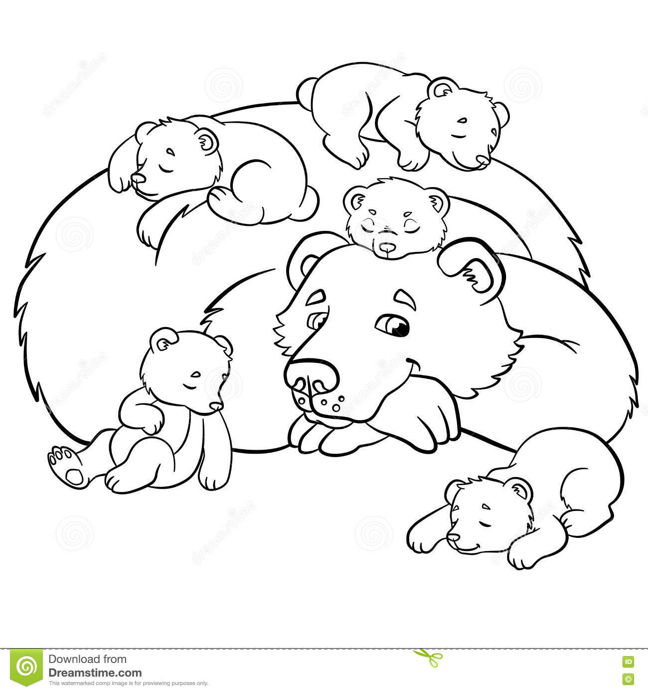 Coloring Pages Wild Animals Kind Bear Stock Vector
