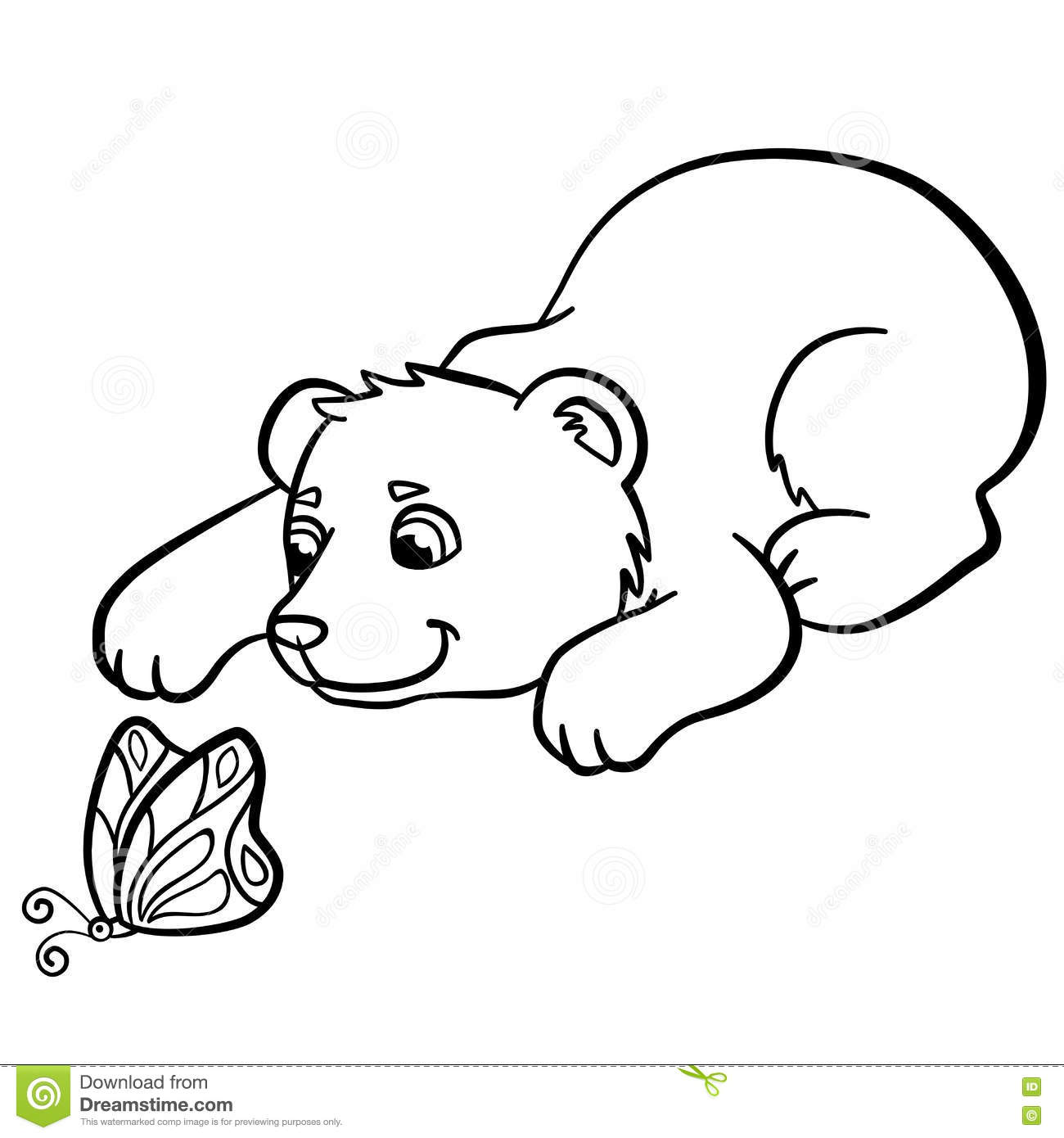 Charmant Coloring Pages. Wild Animals. Little Cute Baby Bear.