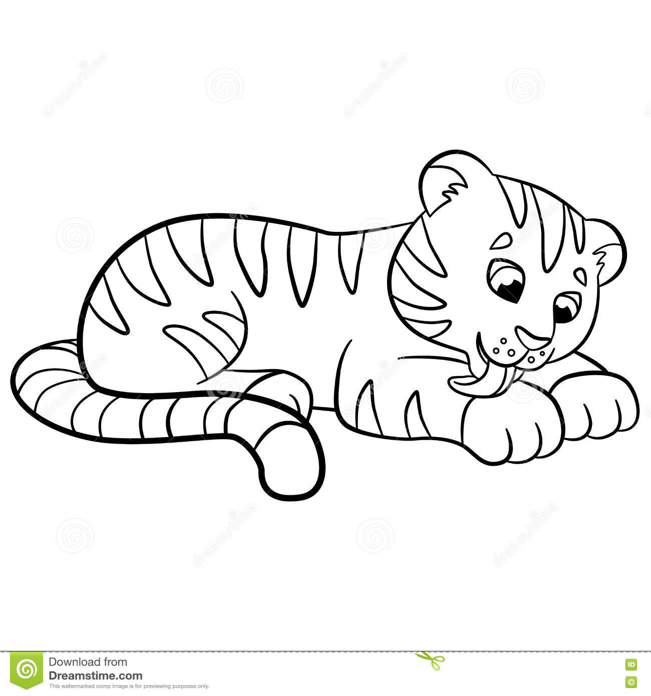 coloring pages wild animals little cute baby tiger cartoon vector 73406343. Black Bedroom Furniture Sets. Home Design Ideas