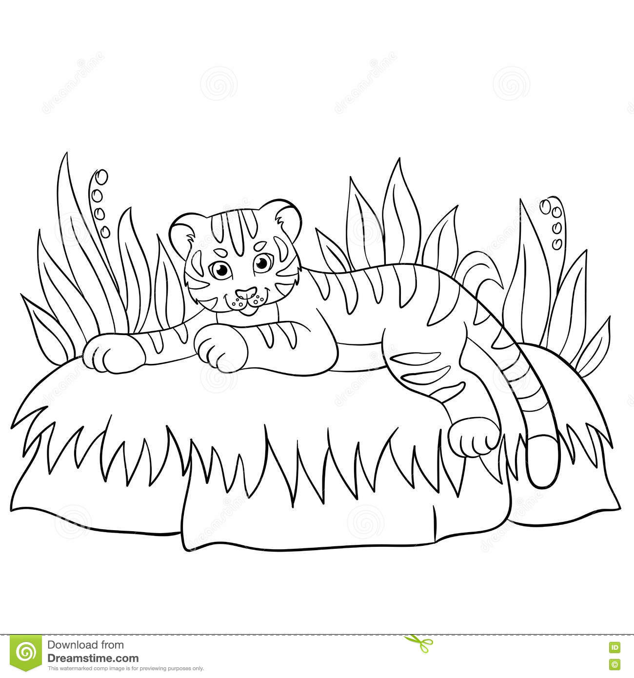 coloring pages wild animals little cute baby tiger smiles stock vector illustration of. Black Bedroom Furniture Sets. Home Design Ideas