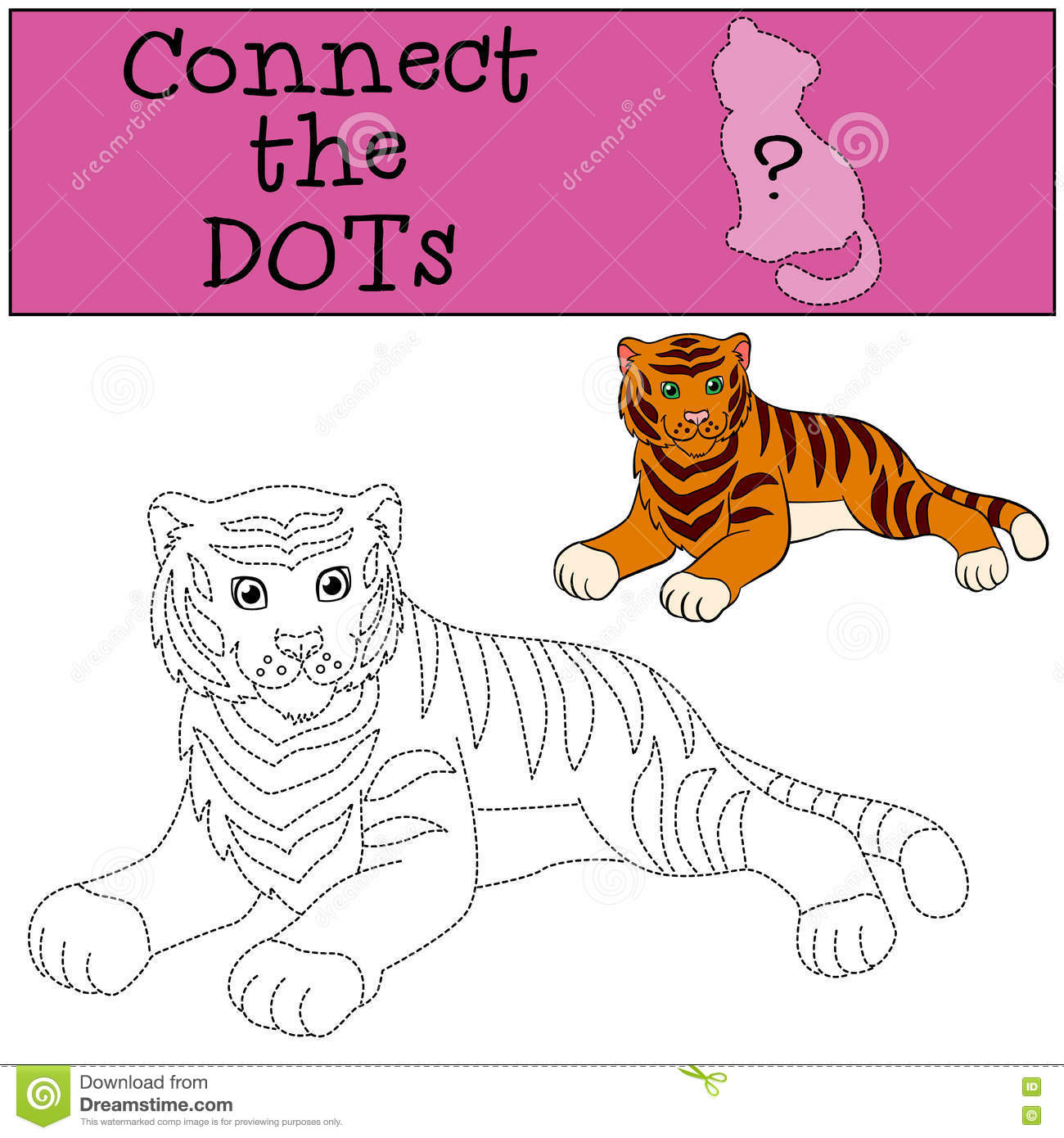 Coloring Pages  Wild Animals  Little Cute Tiger  Stock Vector