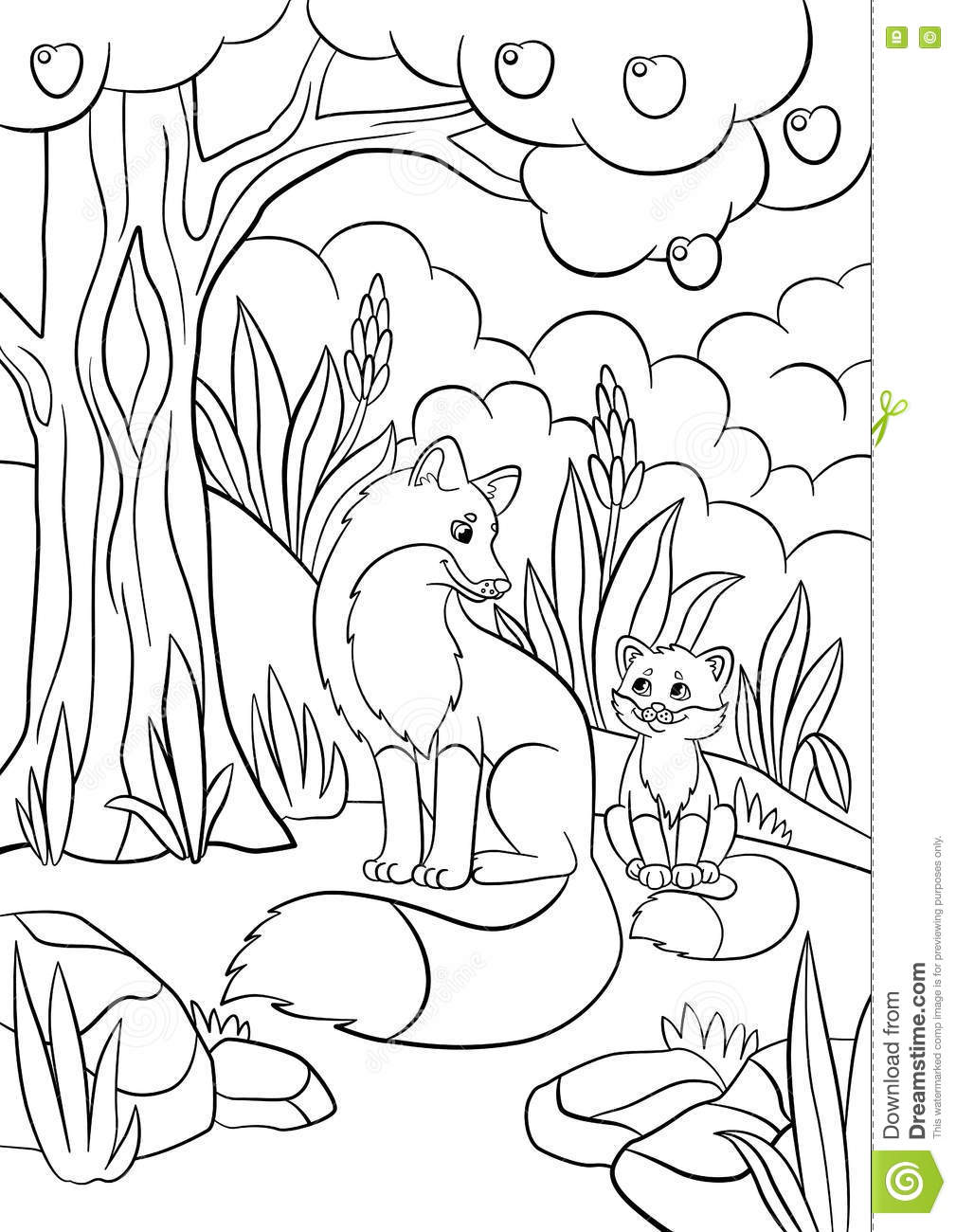 coloring pages wild animals mother fox with her little cute baby stock vector illustration. Black Bedroom Furniture Sets. Home Design Ideas