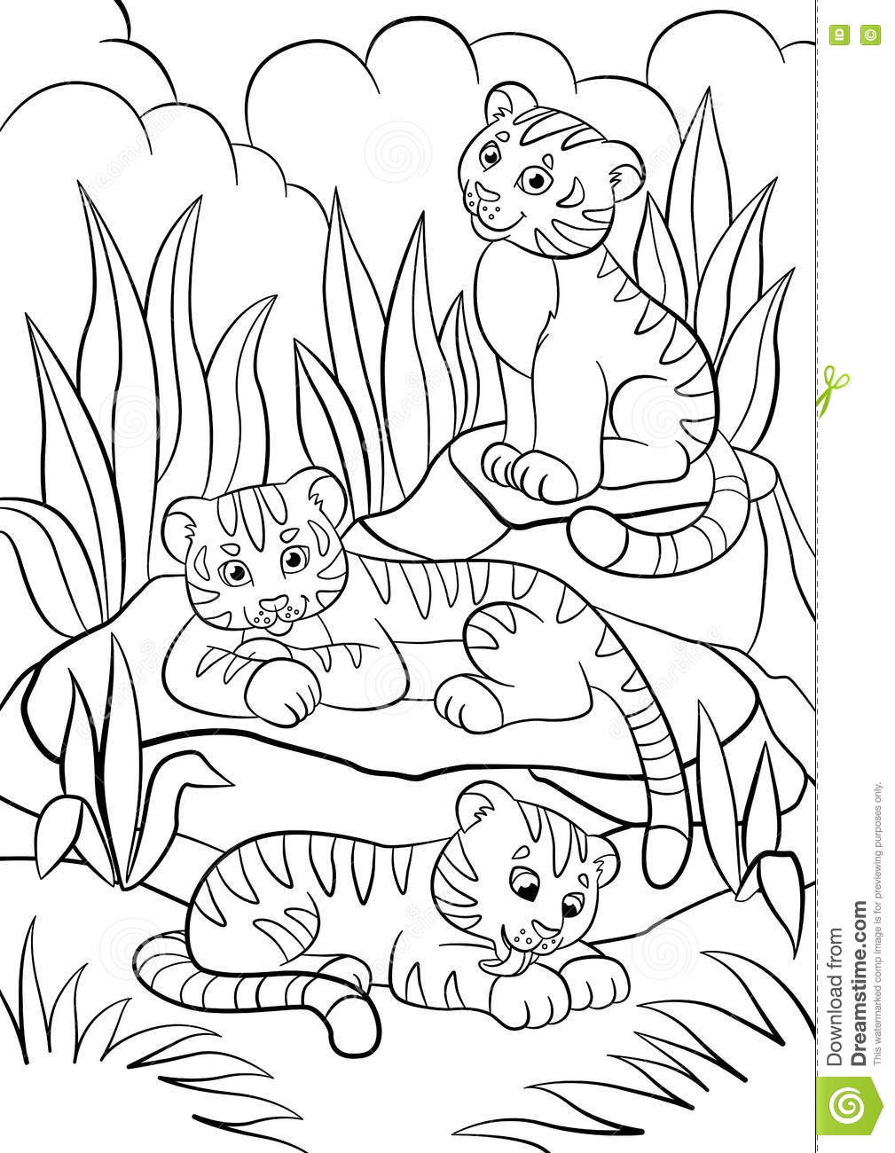 Coloring pages wild animals three little cute baby Crazy animals coloring book