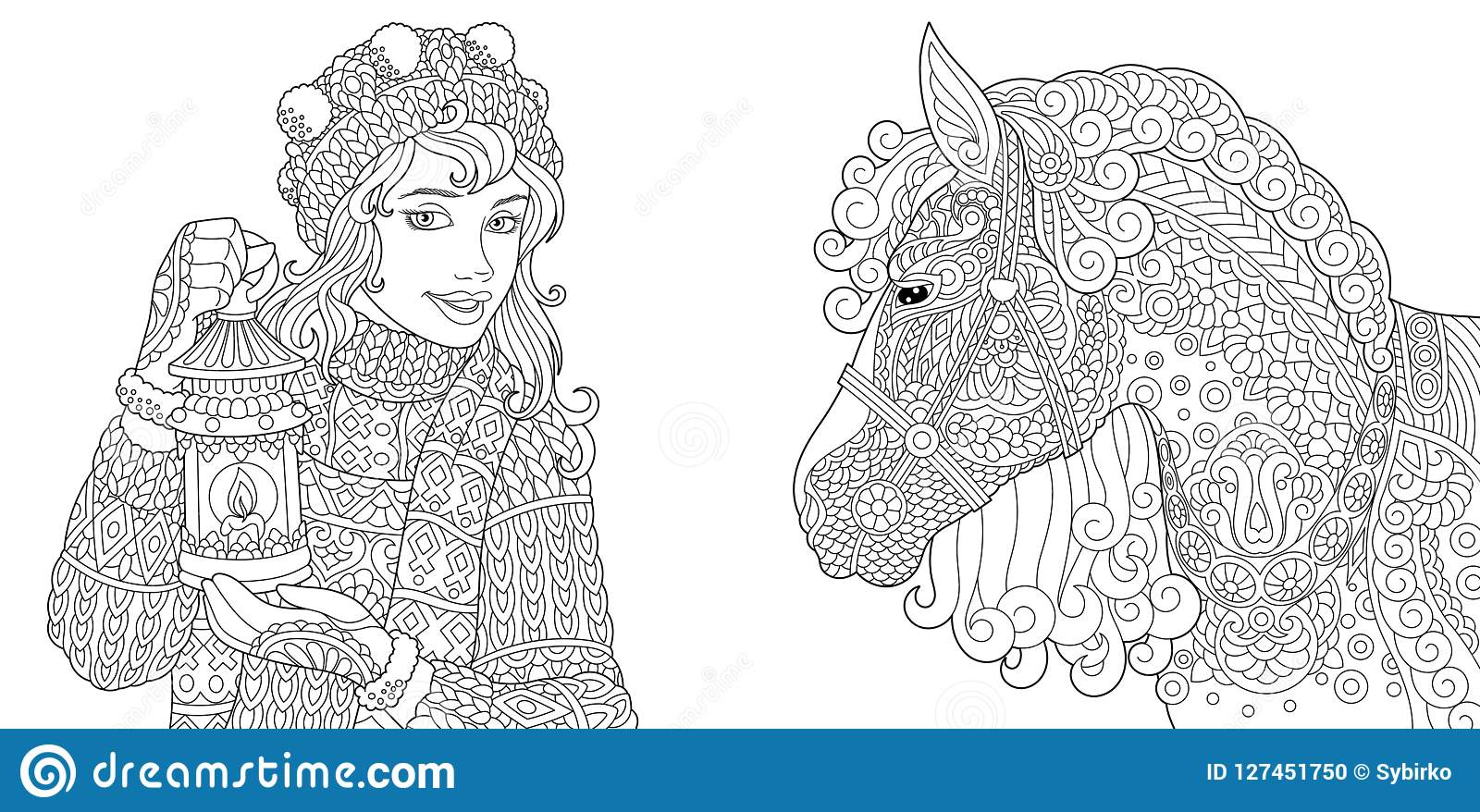 Coloring Pages With Winter Girl And Horse Stock Vector