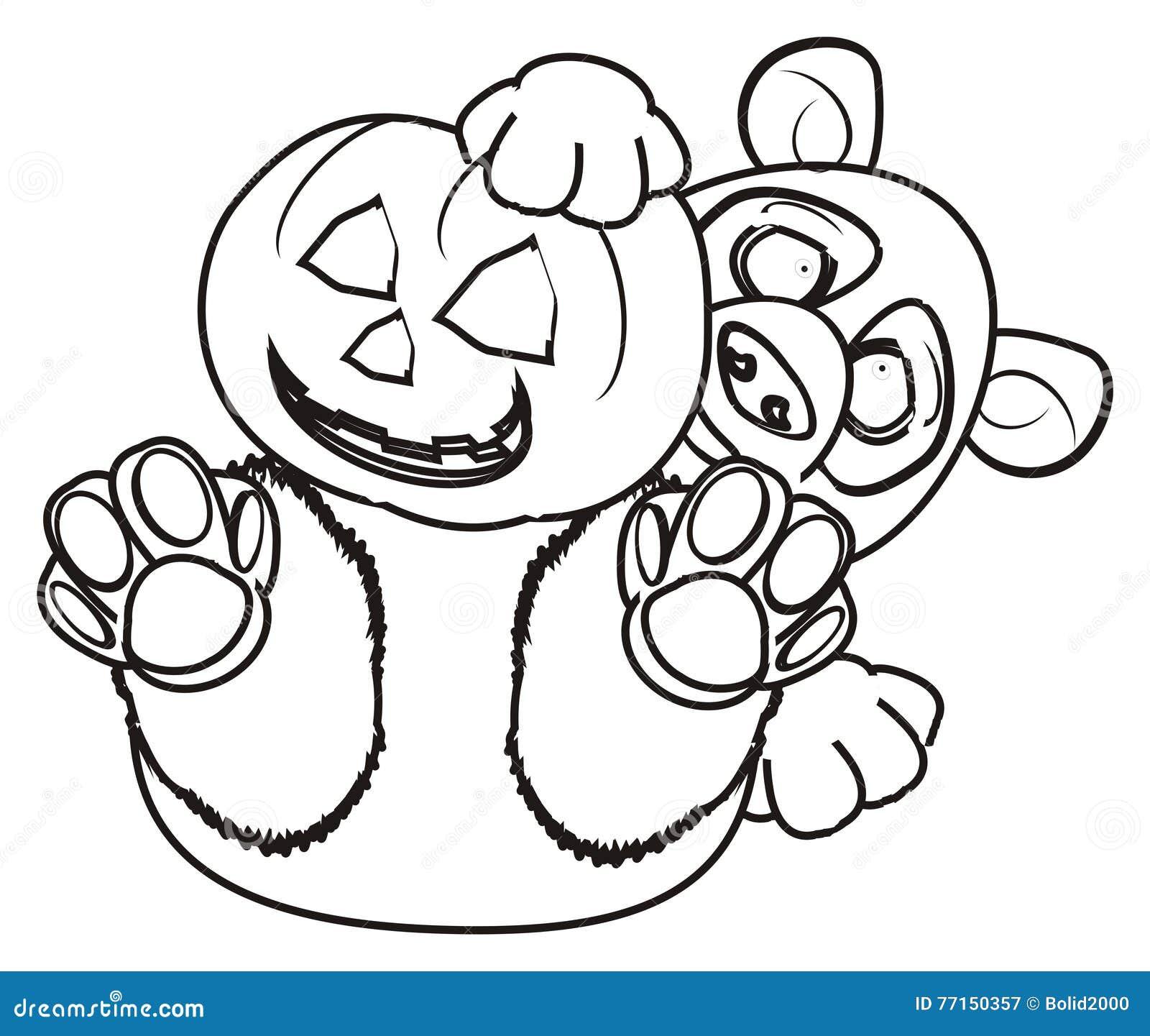 Coloring Panda Hold A Pumpkin Stock Illustration - Illustration of ...