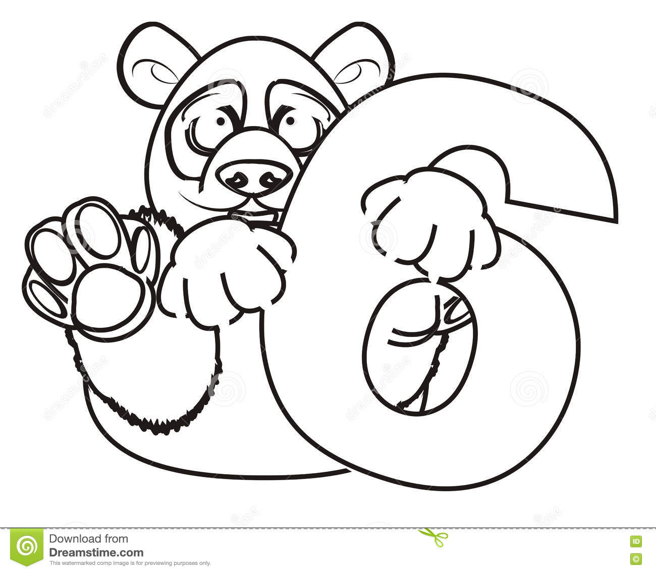 Coloring Panda With Symbol Six Stock Illustration ...