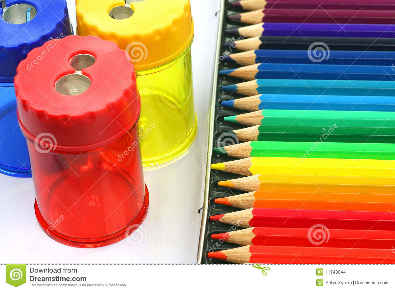 Coloring pencils and pencil sharpeners