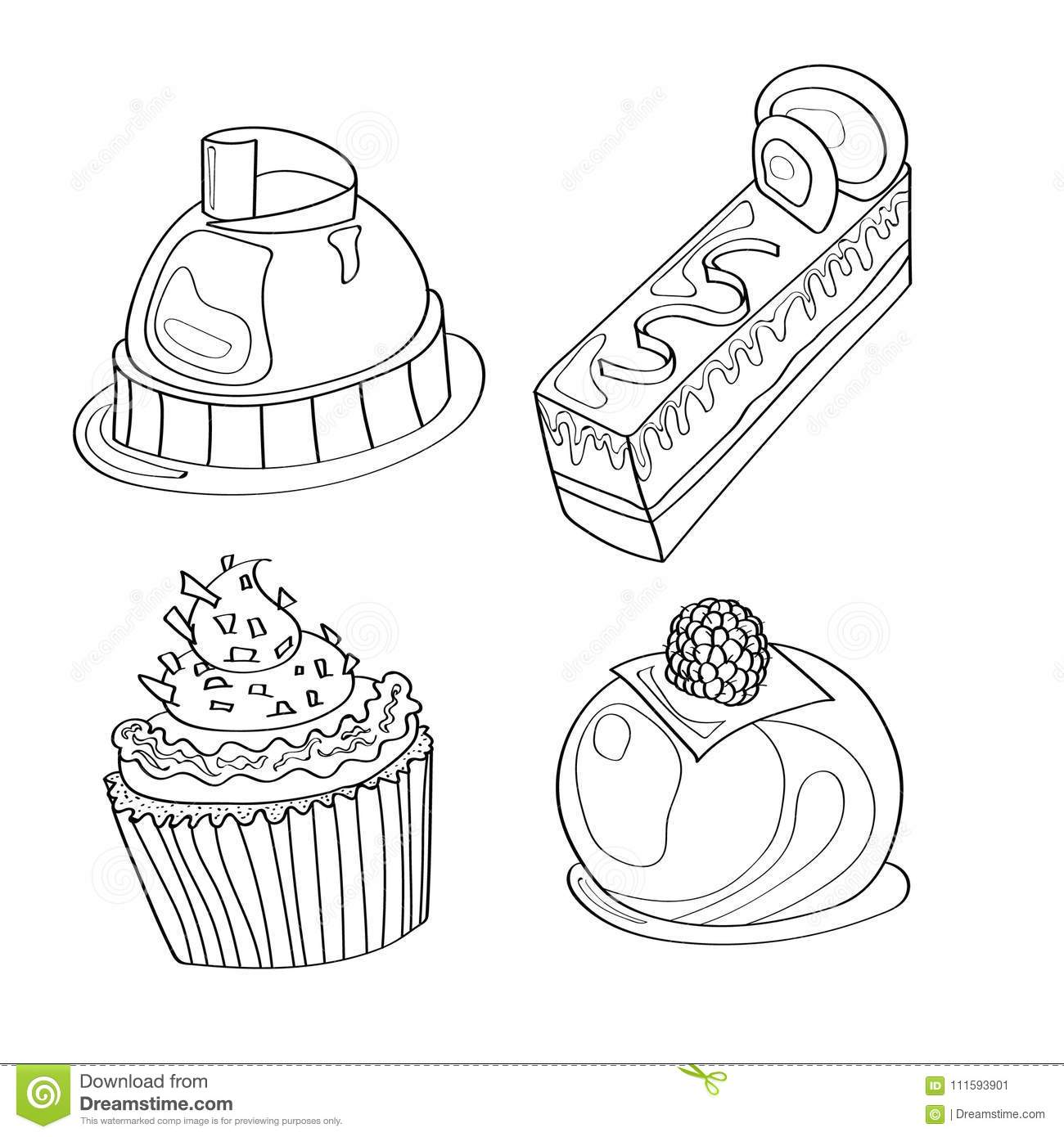 Coloring Picture Coloring Page With Cupcakes Desserts