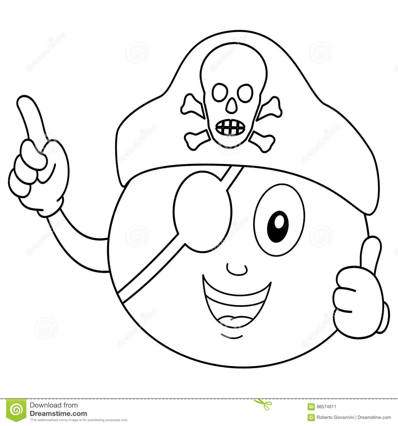 Coloring Pirate Orange With Eye Patch & Hat Stock Vector ...