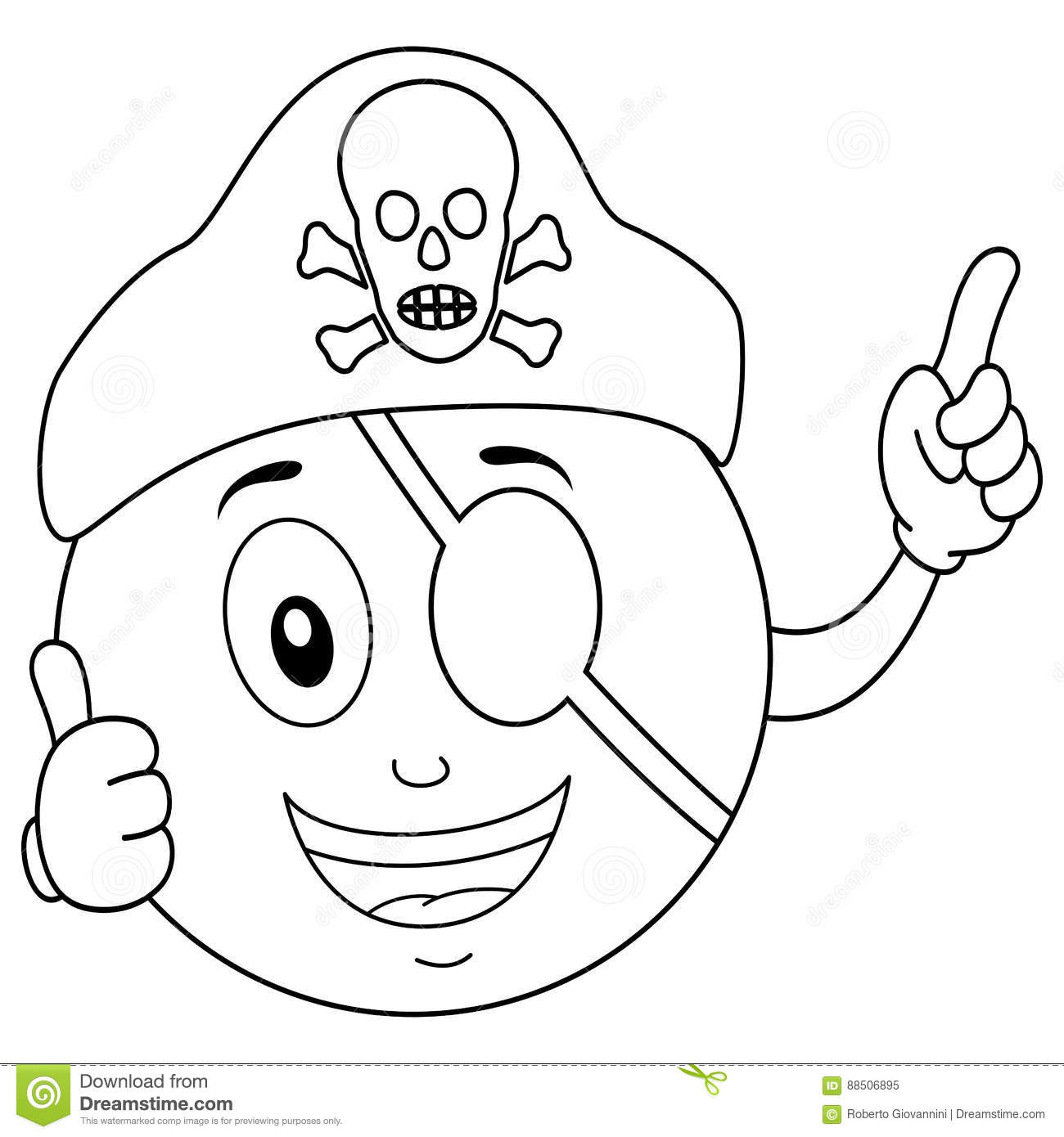 Coloring Pirate Smiley With Eye Patch & Hat Stock Vector ...