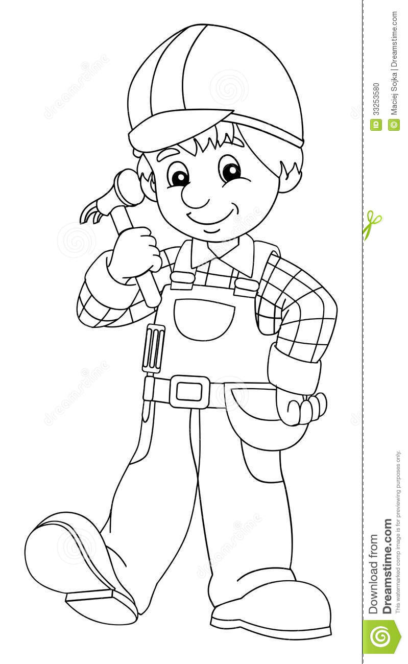 The Coloring Plate - Construction Worker - Illustration For The Children Stock Photo - Image ...