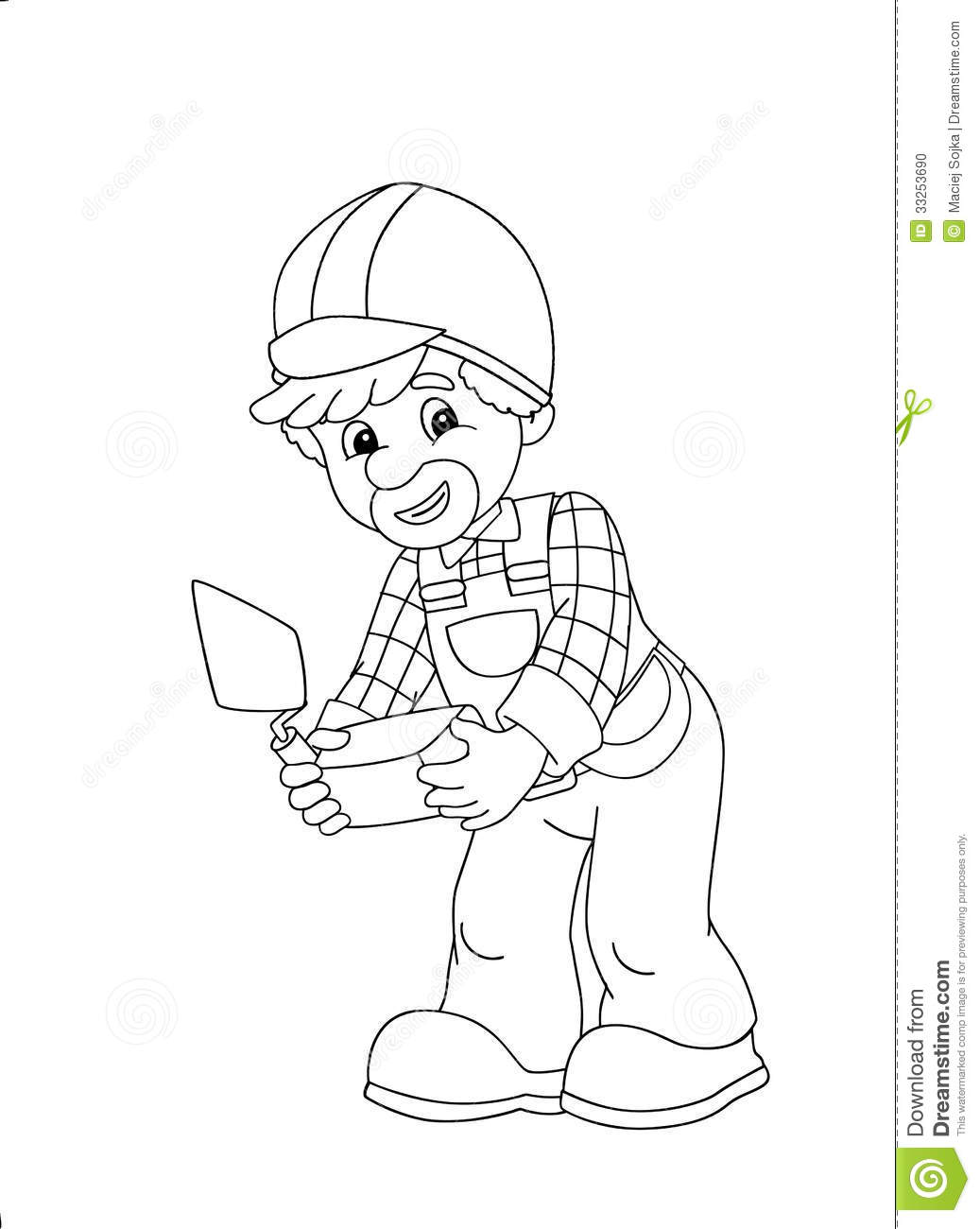 royalty free stock photo download the coloring plate construction worker - Construction Worker Coloring Page