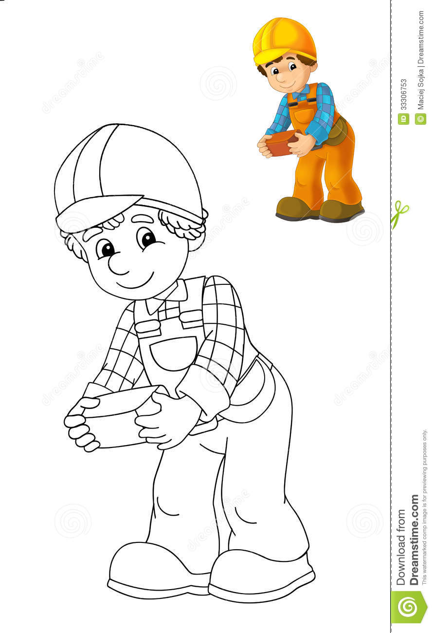 The Coloring Plate - Construction Worker - Illustration ...
