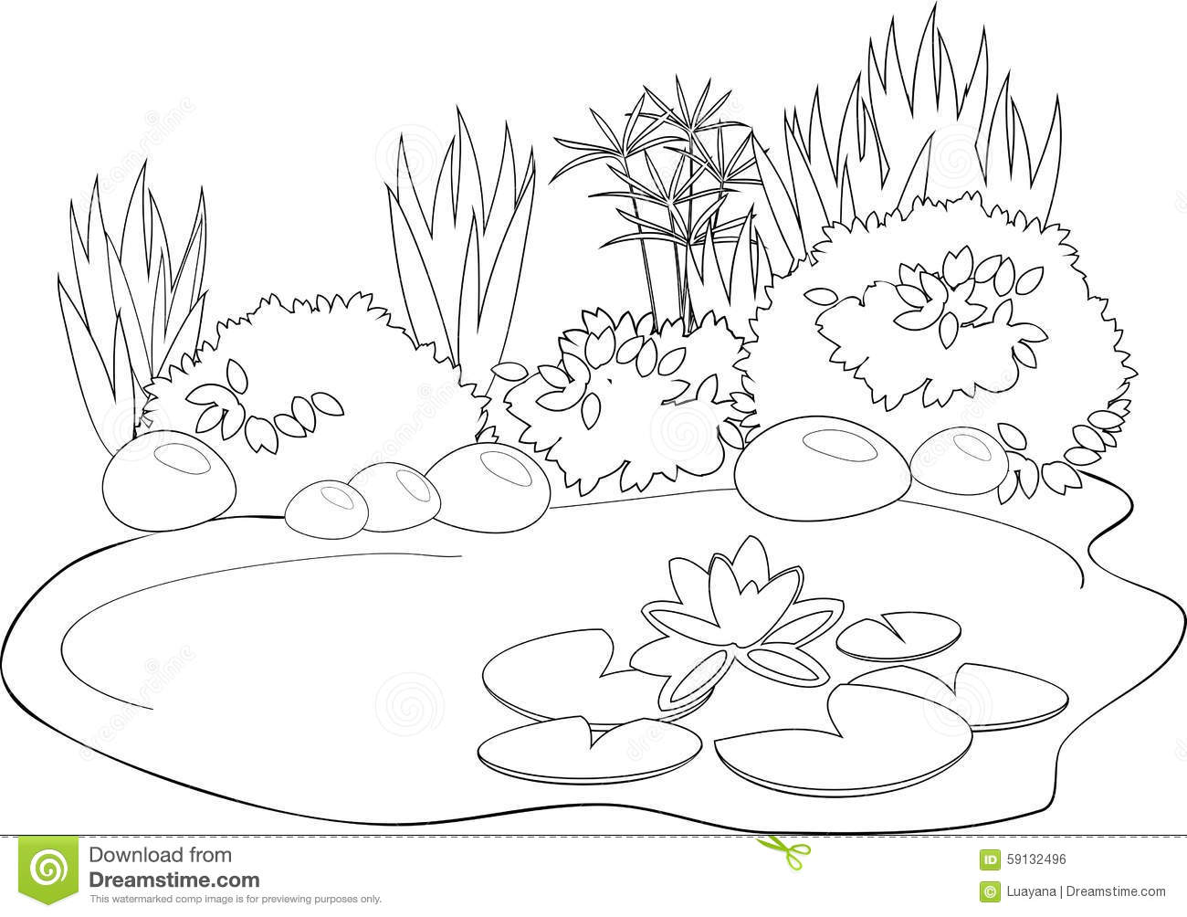 Coloring pond stock vector. Illustration of book, cute ...
