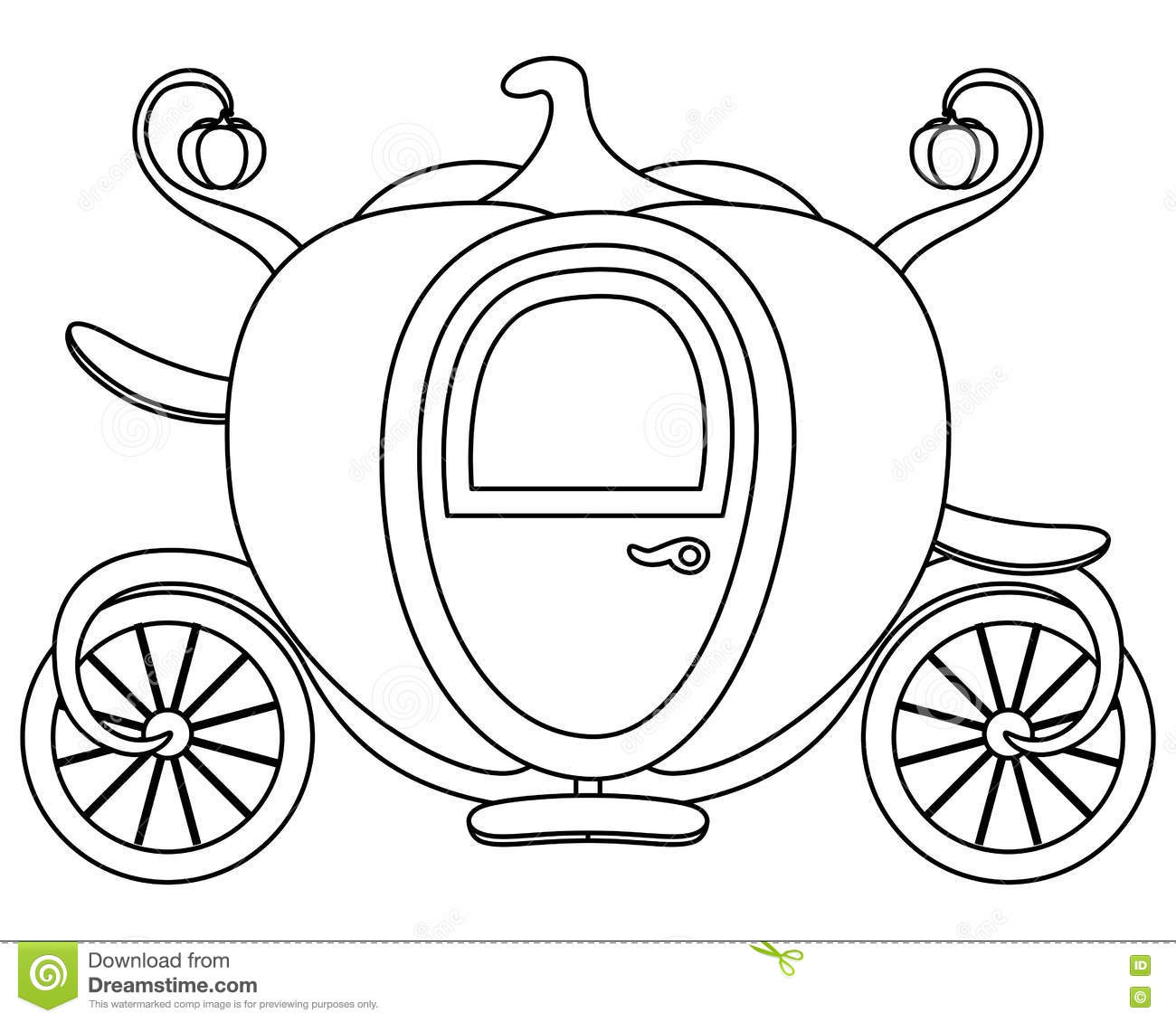 coloring pumpkin cinderellas carriage stock vector