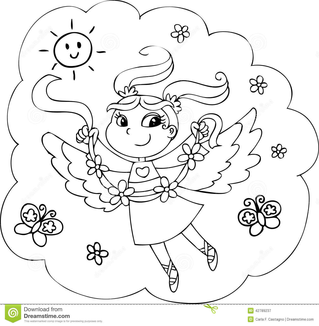 Coloring Rainbow Fairy Girl Stock Illustration