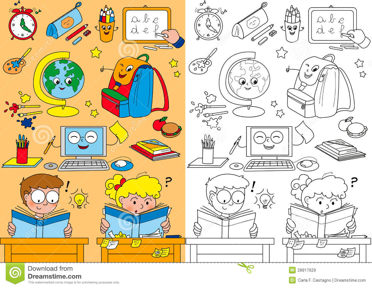 Coloring School Elements For Little Kids Royalty Free Stock Images ...