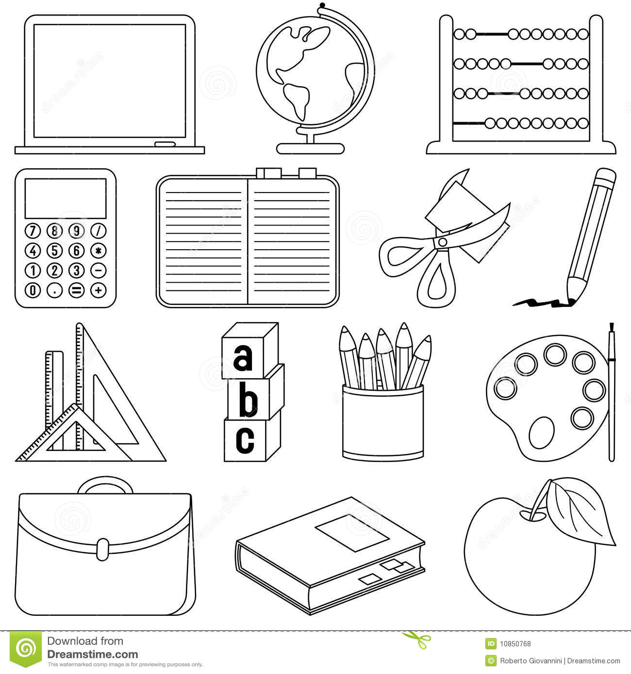 Coloring School Icons stock vector