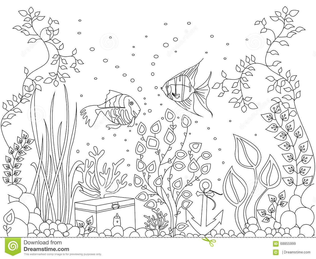 coloring seabed fish vector illustration stock vector