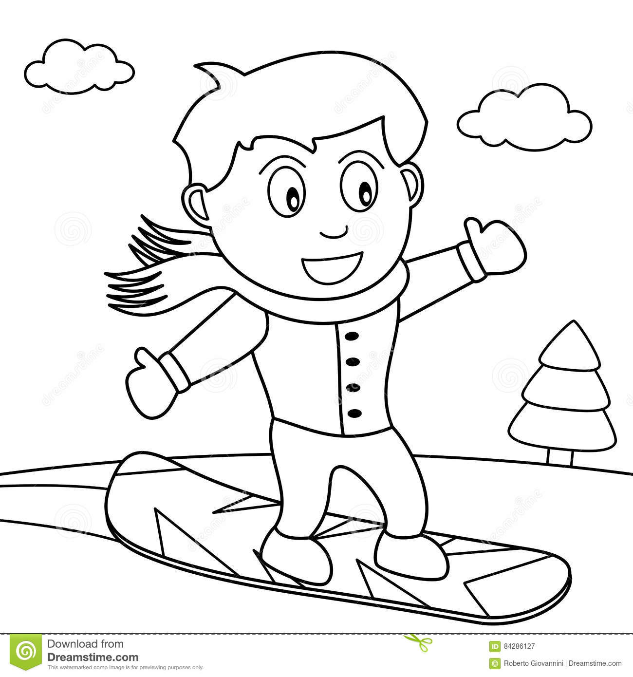 Coloring Snowboarder Boy On The Snow Stock Vector Illustration Of Sport Snowboarder 84286127