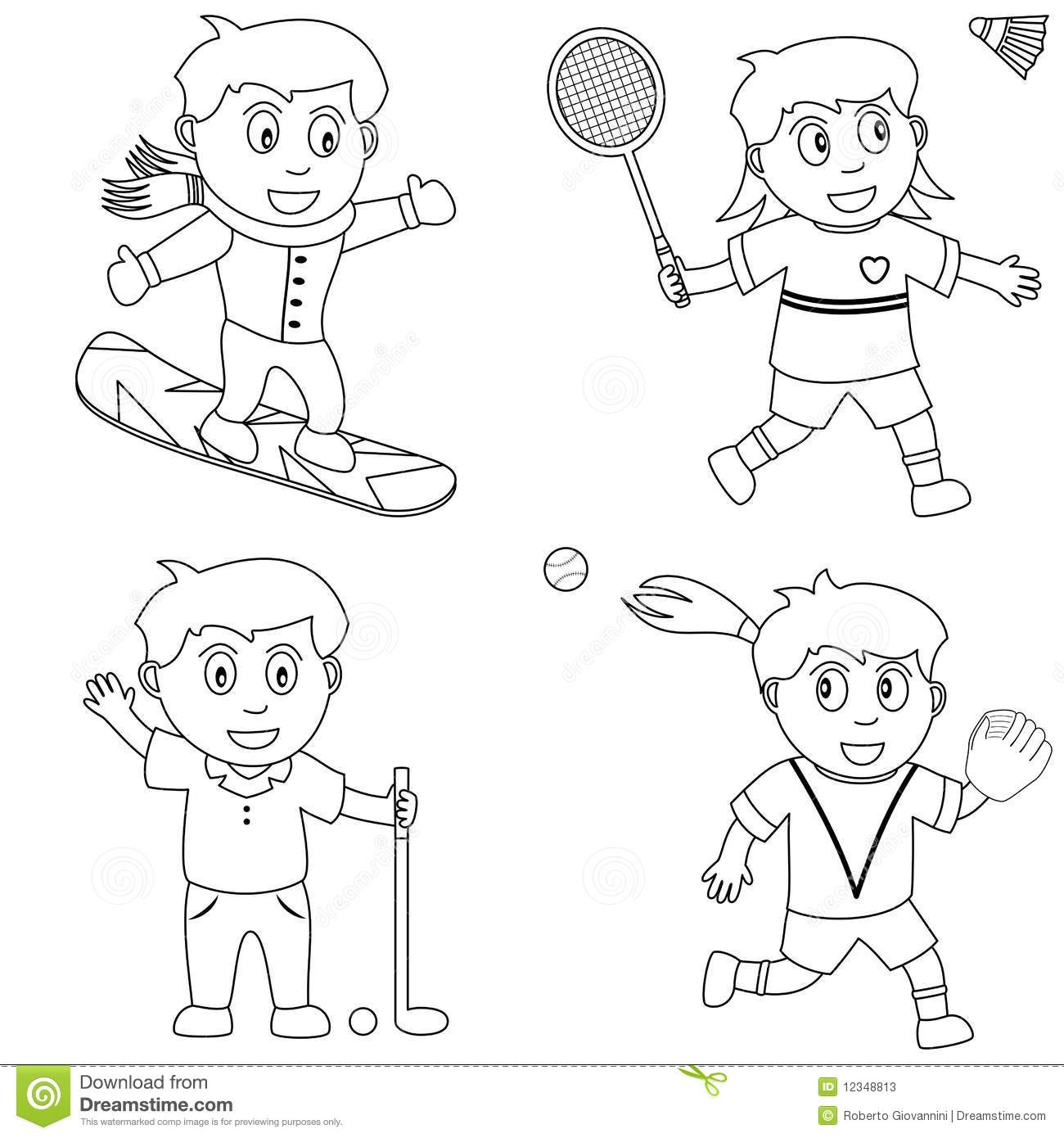 Coloring Sport For Kids [5] Stock Photos - Image: 12348813