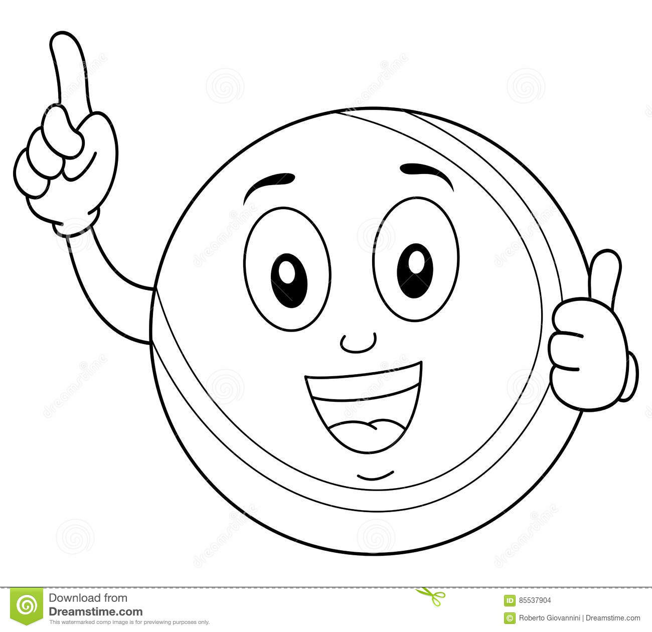 thumbs up coloring page - coloring tennis ball character thumbs up stock vector