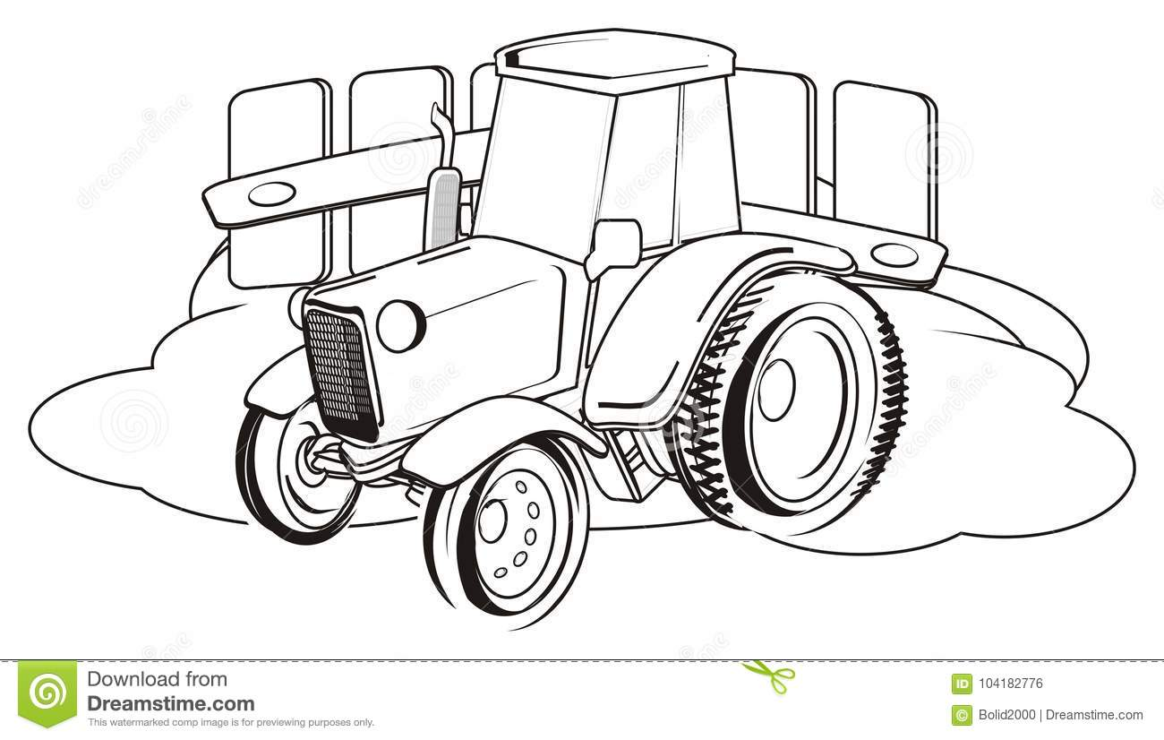 coloring tractor stand fence grass coloring tractor farm
