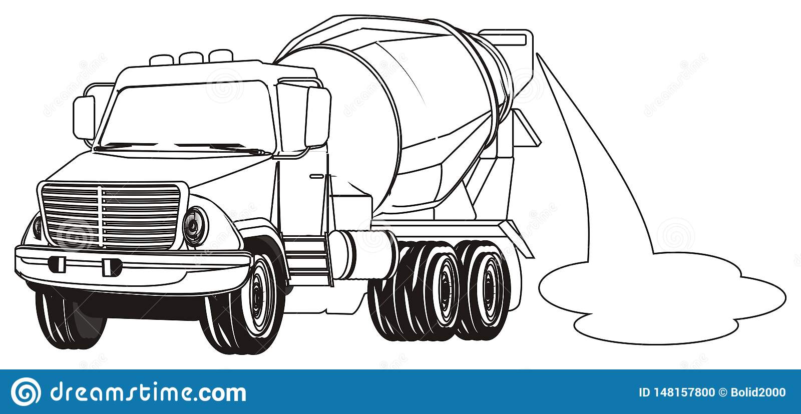 Coloring truck with cement stock illustration. Illustration ...