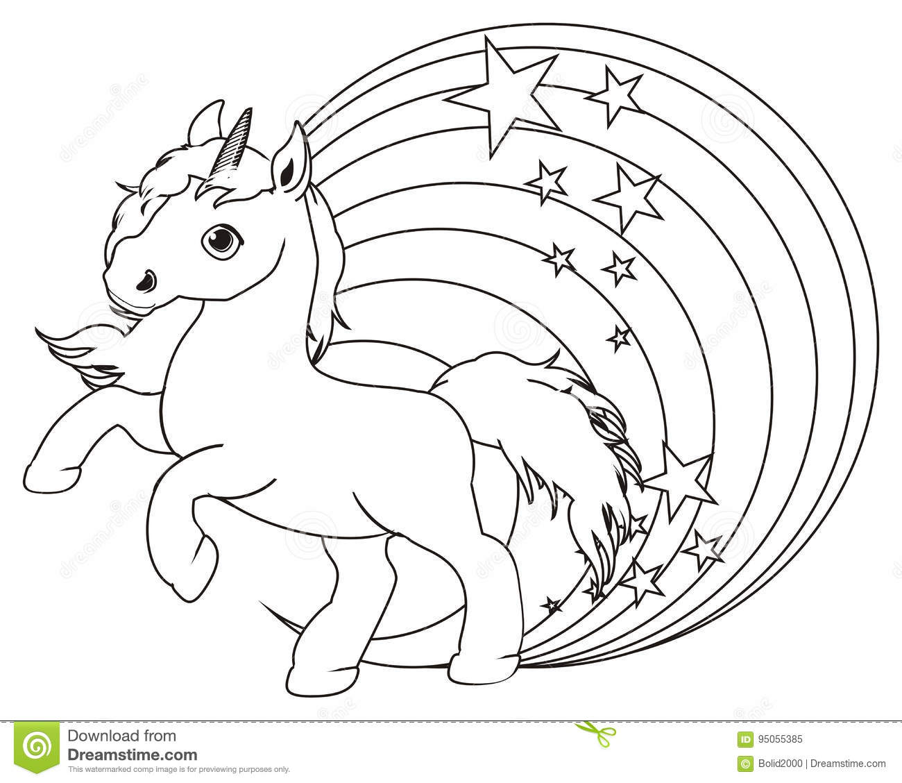Coloring Unicorn And Rainbow Stock Illustration ...