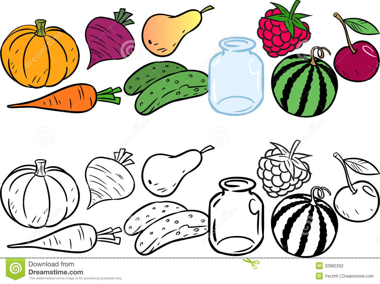 - Coloring With Vegetables And Fruits Stock Vector - Illustration Of