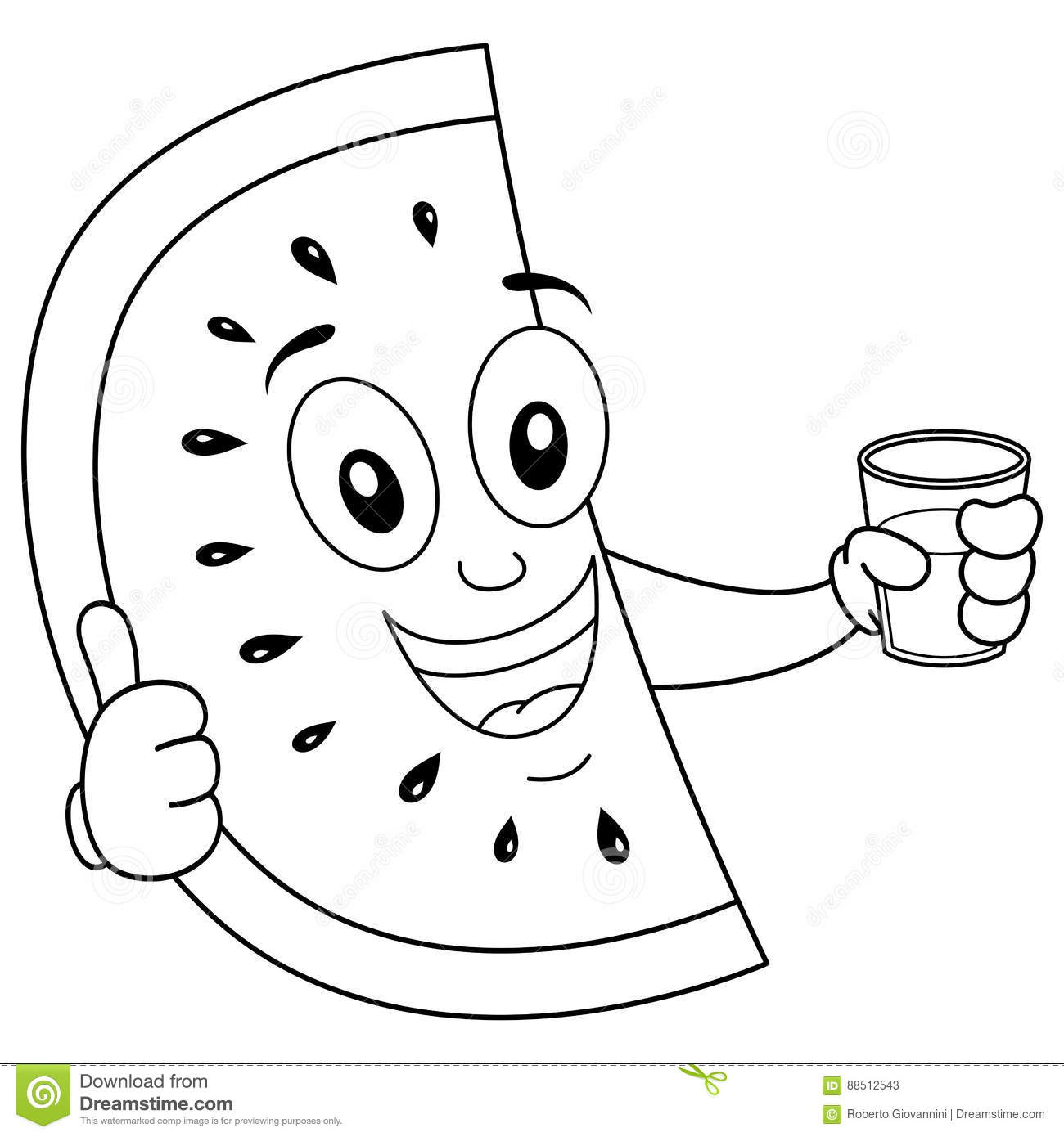 Colouring in juice - Royalty Free Vector Download Coloring Watermelon With Squeezed Juice