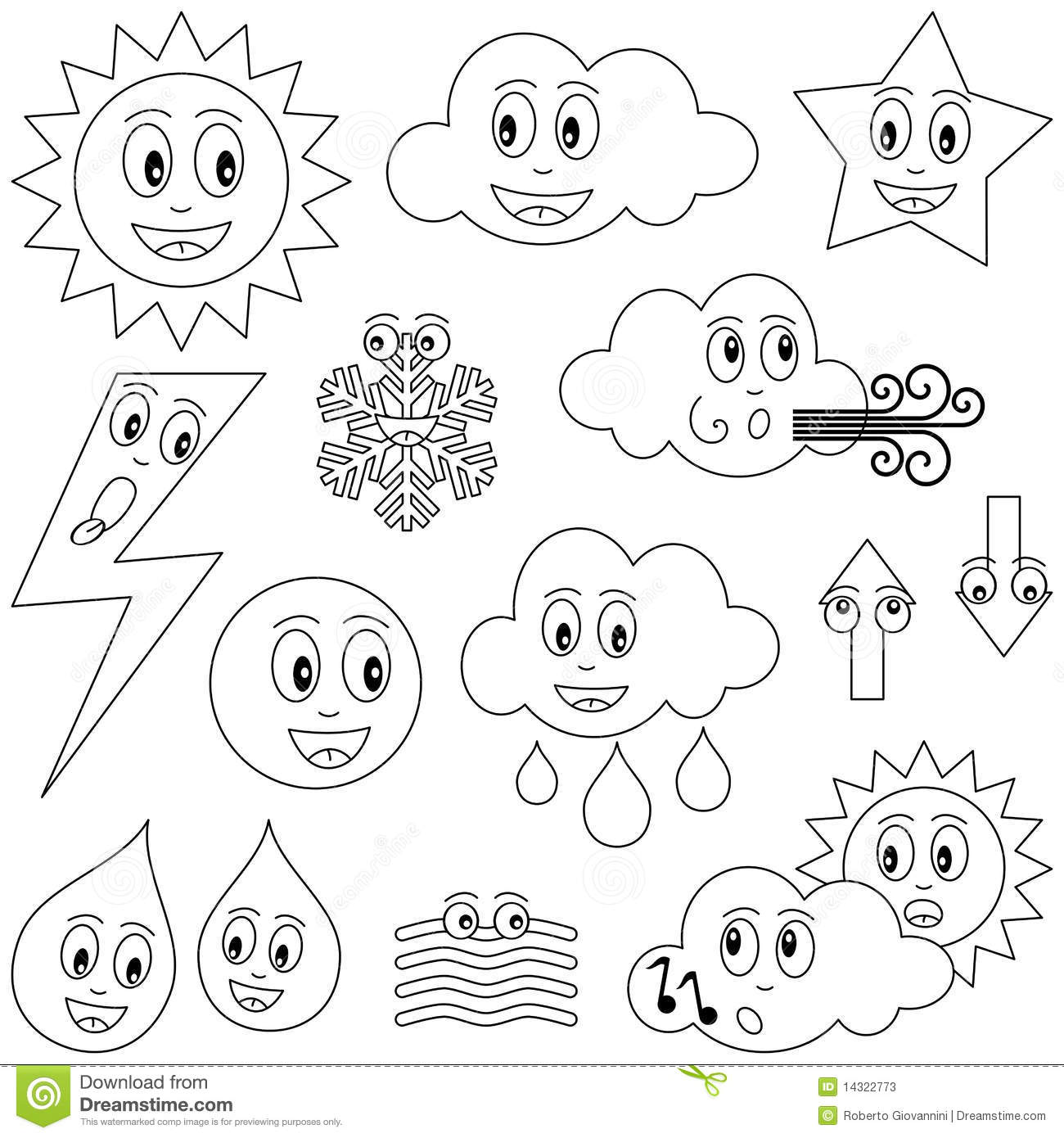 Coloring weather characters stock vector illustration of for Weather coloring pages
