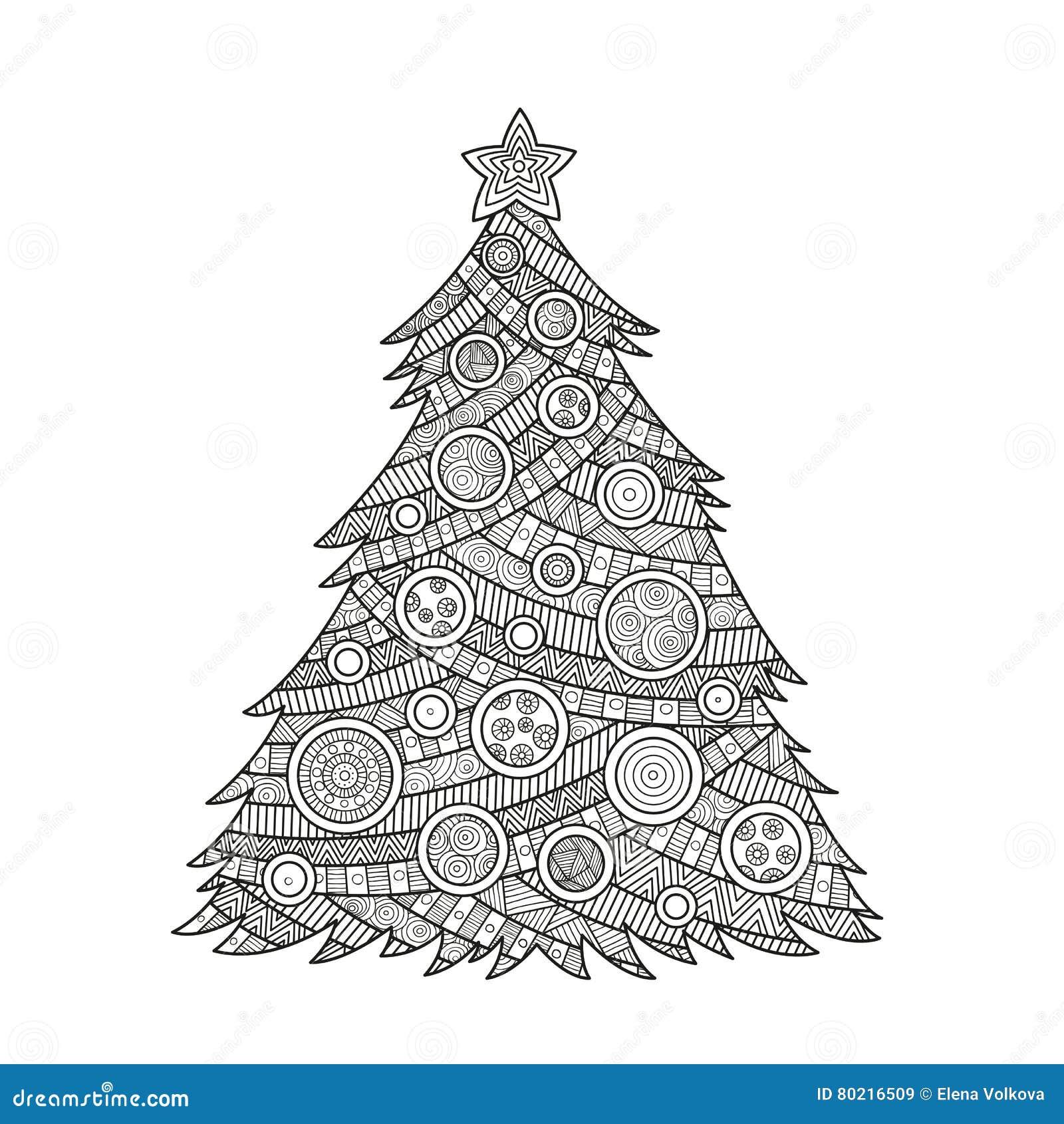 Disegni Di Natale Da Colorare Per Adulti.Coloritura Per L Albero Di Natale Degli Adulti Illustrazione Vettoriale Illustrazione Di Sfera Pagina 80216509