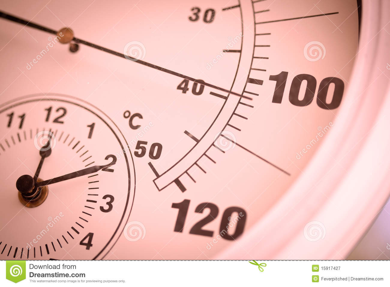 Colorized Round Thermometer Over 100 Degrees Royalty Free