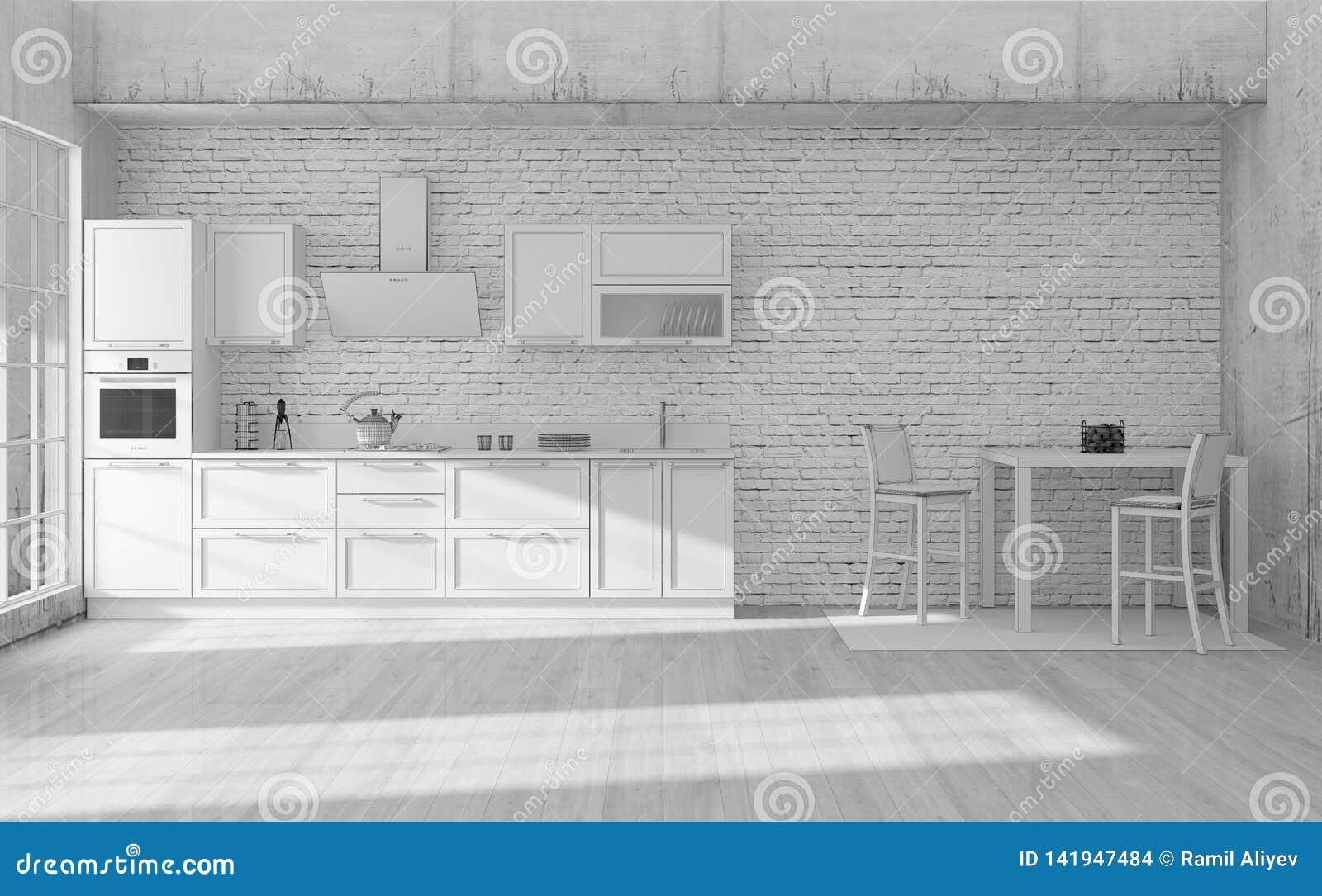 Kitchen Interior Grid 3d Rendering Stock Illustration Illustration Of Chair Design 141947484