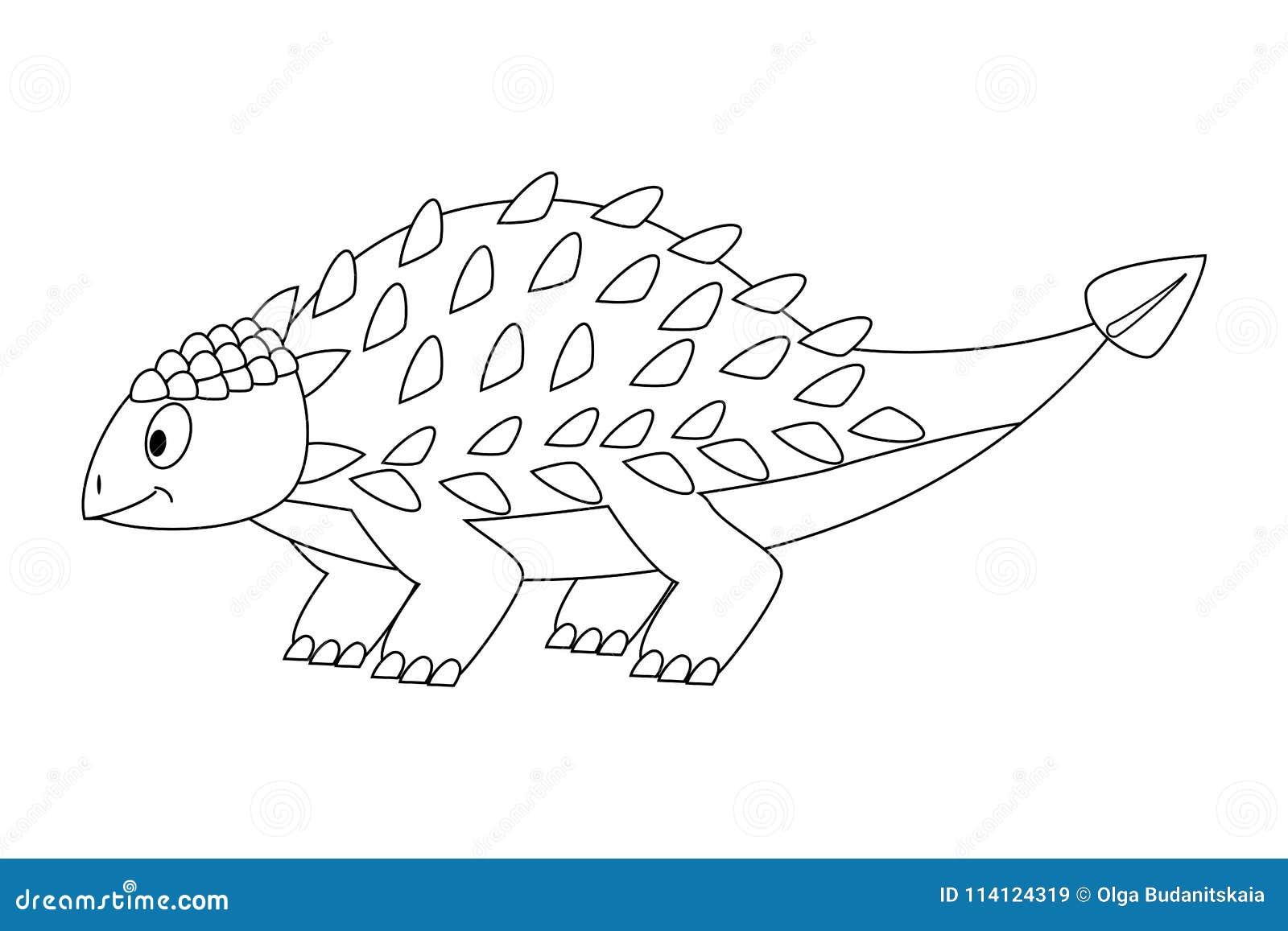 Colorless Funny Cartoon Ankylosaurus. Cartoon Dinosaur. Vector Stock ...