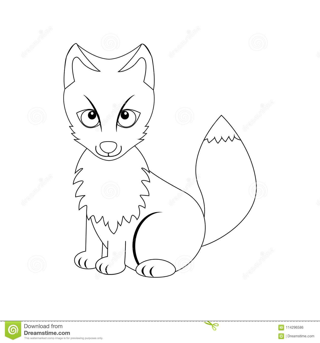 Colorless Funny Cartoon Arctic Fox. Stock Vector - Illustration of ...