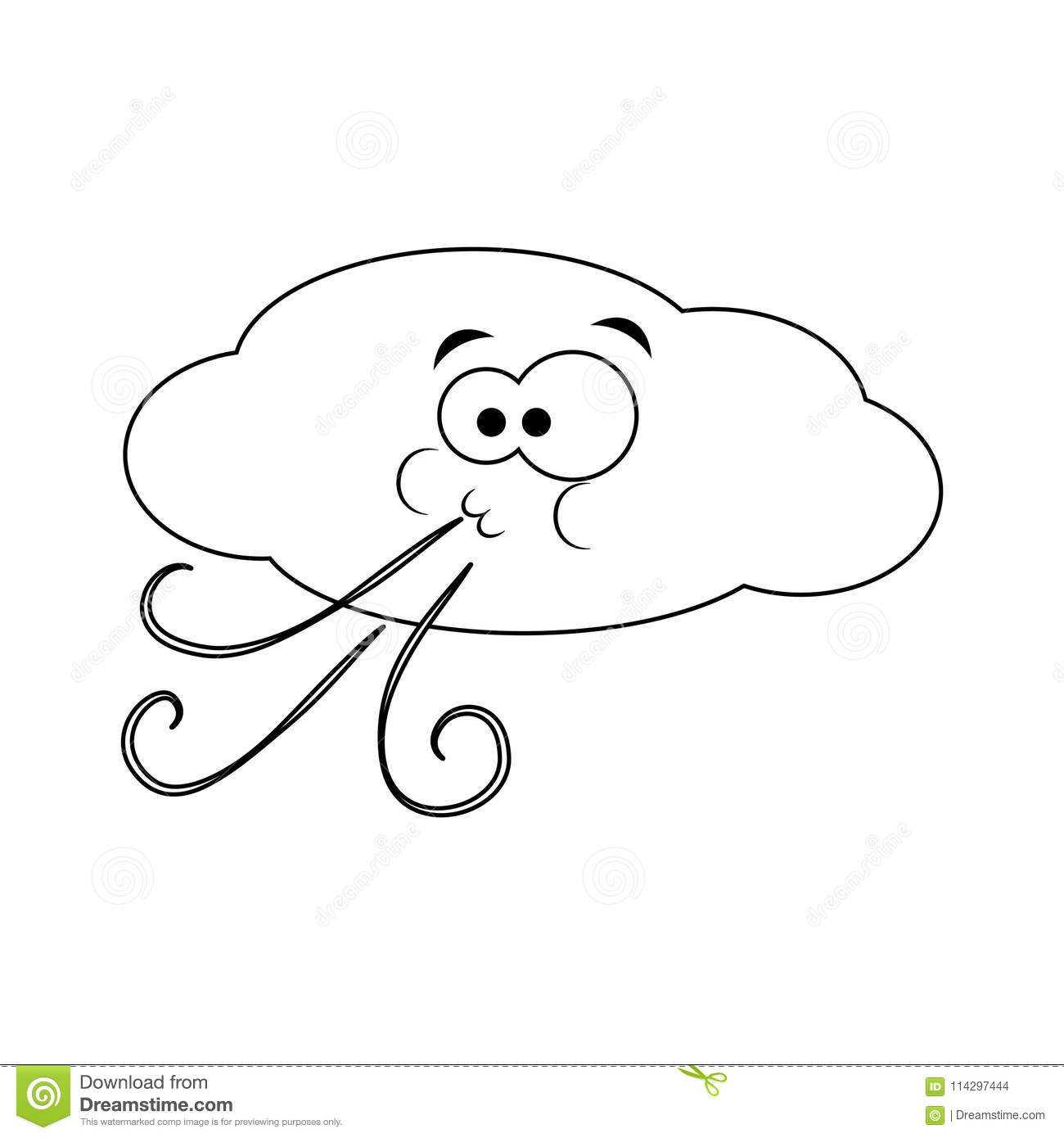 Colorless Funny Cartoon Cloud Blows Wind. Vector ...