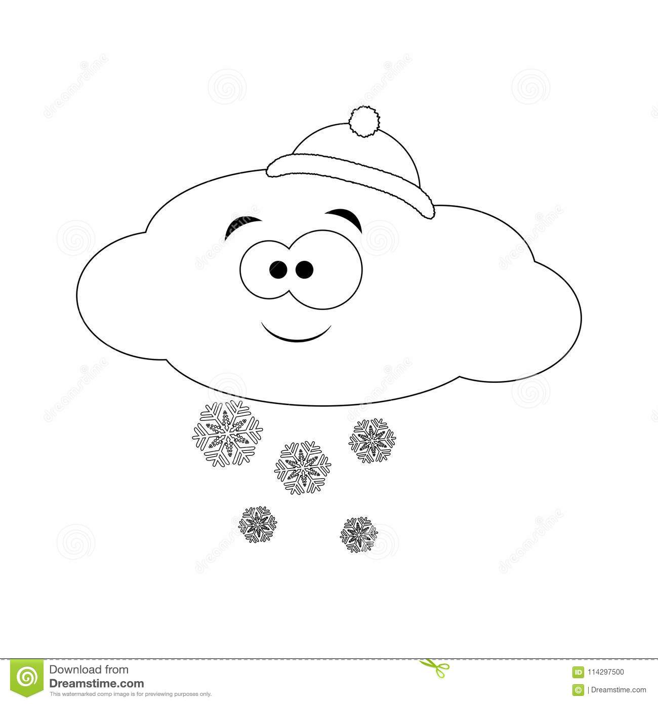 Colorless Funny Cartoon Cloud In Hat With Snow. Vector ...