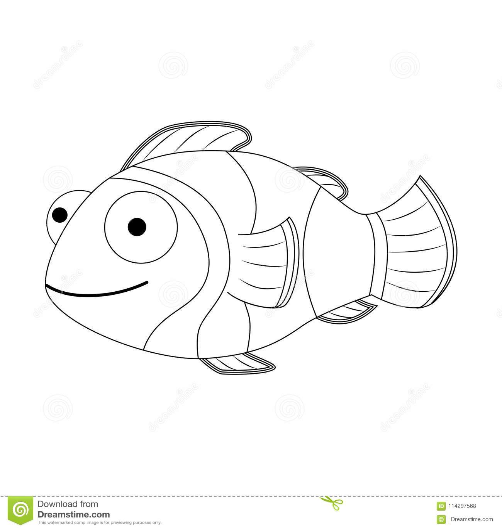 Colorless Funny Cartoon Clown Fish Vector Illustration Coloring