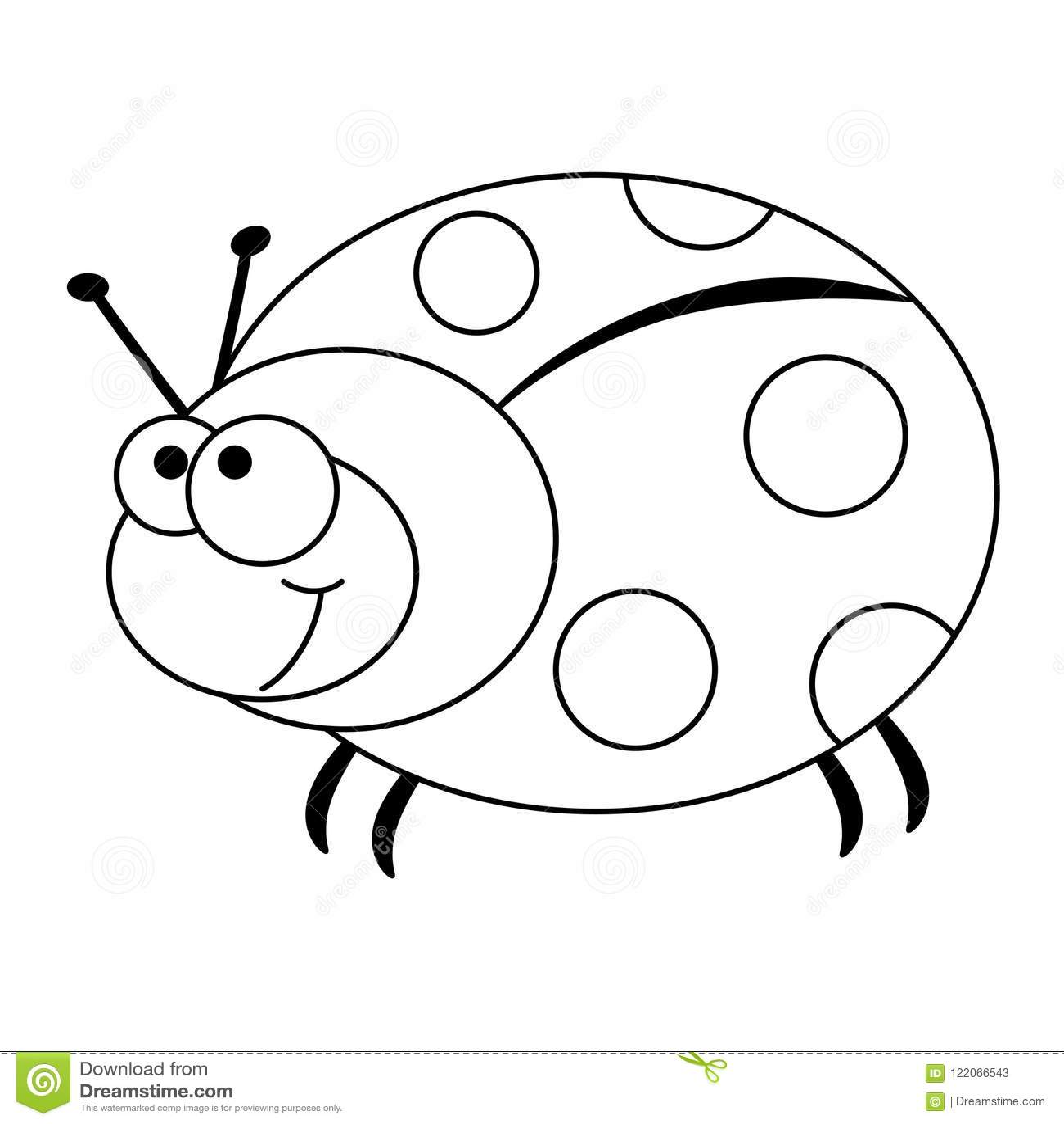Colorless Funny Cartoon Ladybug Stock Vector Illustration Of Life
