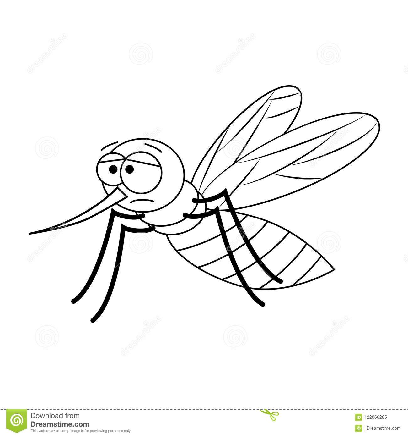 Colorless Funny Cartoon Mosquito. Stock Vector - Illustration of ...