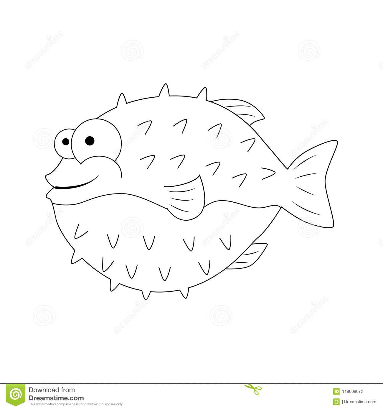 Colorless Funny Cartoon Puffer Fish. Vector Illustration. Colori ...