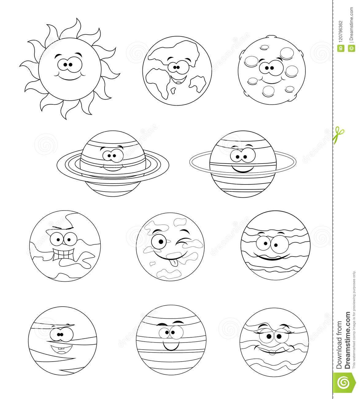 Colorless Set Of Solar System Planets. Vector Illustration Isolated ...